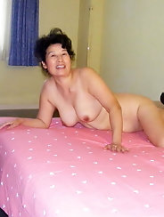 Hairy Asian granny