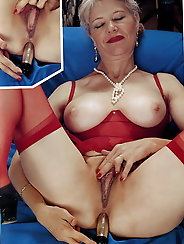 Nasty silver haired retro granny loves Dp