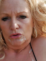 Blonde granny slut fucking outdoors