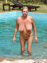 Hot grannies in the pool