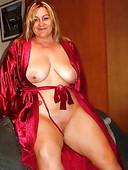 All-natural cougar in provocative dress
