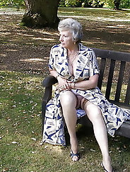 Naughty fun grannies flashing their snatch outdoors