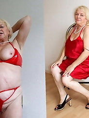 Naughty mature granny is getting seminaked on pictures