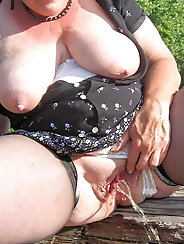 Shapely older mademoiselle with soaked holes